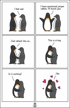 Emotional jumper cables - Penguin Funny - Funny Penguin meme - - Emotional jumper cables Get More The post Emotional jumper cables appeared first on Gag Dad. Penguin Meme, Penguin Art, Penguin Quotes, Penguin Tattoo, Happy Penguin, Funny Animals, Cute Animals, Cute Penguins, Cute Relationships