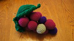 I'm going to continue to make different sizes, colors, and try different internal structures until I get a good 'bunch'. The grapes are a. Yarn Bombing, Ravelry, Raspberry, Crochet Necklace, Artwork, Projects, Pattern, How To Make, Color
