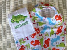 (I do not the like the personalized name bit so I would use a fun wording instead.) Dinosaur Burp Cloth and Matching Bib Set, Great baby shower gift