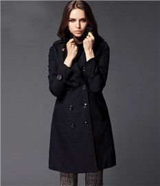 Double Breasted Turn-Down Collar Black Long Trench Coat For Women