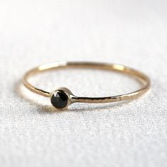 Rose Cut Black Diamond Stack Ring Solid 14k Thread