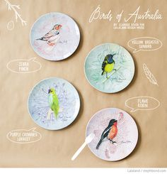 Bondville: Australian bird melamine plates from Lalaland