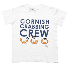 049aaa4bb Cornish Crabbing Crew T-Shirt - White Seaside, Tween, Clothing, Mens Tops