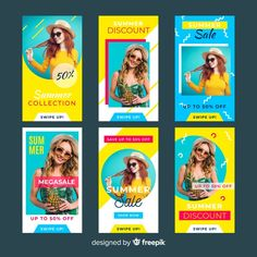 Summer sale instagram stories templates | Premium Vector #Freepik #vector #business #sale #technology #summer Instagram Design, Instagram Feed, Plakat Design, Sale Banner, Instagram Story Template, Social Media Template, All Poster, Summer Sale, Vector Free