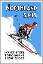 Northland Skis Vintage Ad with Male Ski Racer Poster