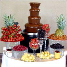 super Ideas for chocolate fountain bar sweet 16 candy buffet Chocolate Fountain Recipes, Chocolate Fountains, Chocolate Fountain Wedding, Candy Table, Candy Buffet, Sweet Sixteen, Dessert Bars, Dessert Table, Fruit Tables