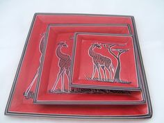 Set of Square Kisii Stone Plates - African Dream