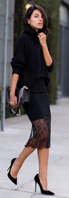 JUST BLACK - black lace trim skirt top oversized long sleeve sweater women fashion outfit clothing stylish apparel closet ideas Look Fashion, Winter Fashion, Womens Fashion, Fashion Trends, Fashion Bloggers, Skirt Fashion, Fashion Heels, Fashion Black, Trendy Fashion