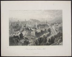 1875 Edinburgh Scotland View from the Calton Hill. Fine