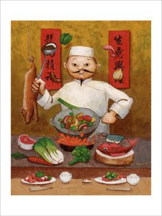 Wok-Man, Chinese Chef Giclee Print by John Howard