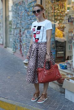 Discover this look wearing Camel Choies Skirts, Burnt Orange Balenciaga Bags - Leopard is the new neutral by fashionandcookies styled for Eclectic, Everyday in the Summer Leopard Outfits, Balenciaga Bag, I Am A Queen, Rock, Burnt Orange, Shirt Outfit, Midi Skirt, High Waisted Skirt, Dressy Skirts