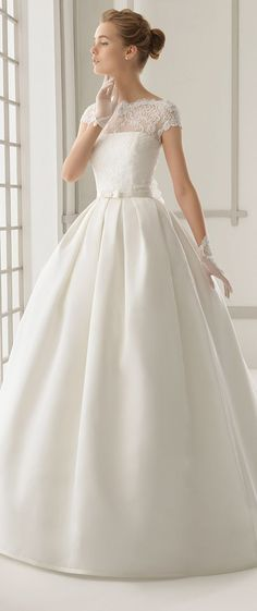 Lovely capped sleeve lace and satin wedding ball gown | Rosa Clara 2016 Bridal Collection via @Belle The Magazine