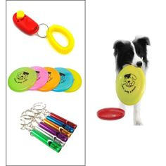 3pcs Dog Clicker Training set Trainer Whistle Keychain FRISBEE Flying Disc P2