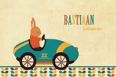 Geboortekaartje jongen - konijntje in raceauto - retro stijl - Pimpelpluis - https://www.facebook.com/pages/Pimpelpluis/188675421305550?ref=hl (# konijn - auto - raceauto - stoer - lief - retro - vintage - blaadjes - kleurrijk - dieren - baby - origineel)