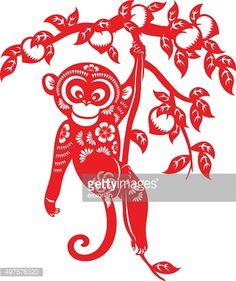 Vector Art : Year of the monkey papercut art