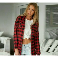 "Many ways to style this flannel top ! Get the look Get the look with this gorgeous comfy button down red and black flannel!  Many ways to style this!:) Has two front pockets! 100% cotton ! Length of shirt from top to bottom is 26"" sleeve length is 22"" have sizes small medium and large available!  Please let me know what size you would like so i can make you a seperate listing! Price is firm unless bundled! :)  2 SMALL Available! boutique Tops Button Down Shirts"