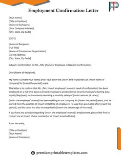 Business request letter write business letters required in many when someone lands a job with your company use our employment confirmation letter to outline the duties and premium printable templates wajeb Gallery