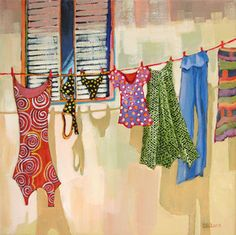 contemporary painting of laundry by Carolee Clark