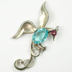 Trifari Sterling Philippe Ruby Shoebutton Aquamarine Bird of Paradise Pin | eBay