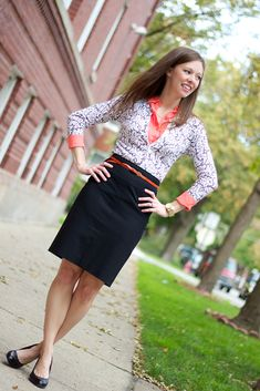 Black and White Lace Print Cardigan with Orange