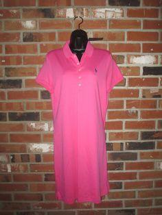 New  Polo Ralph Lauren Dress  Women's Interlock Knit Pony Logo Large  Pink NWT #PoloRalphLauren #ShirtDress #Casual