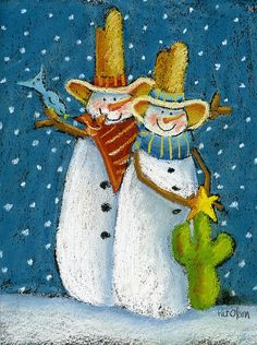 pat olson artist | Mr And Mrs Snowman Poster By Pat Olson