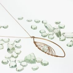 Rose Gold and Green Amethyst necklace