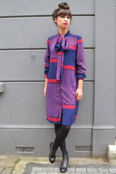 Rodebjer Francine Navy/Wine Panel Dress