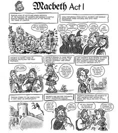 A free download of a comic for Act I of Macbeth with an activity. || Ideas and inspiration for teaching GCSE English || www.gcse-english.com ||