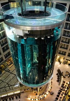 The Aqua Dom at the Radisson Blu Hotel in Berlin, Germany, is a 25 meter tall cylindrical acrylic glass aquarium with built-in transparent elevator.