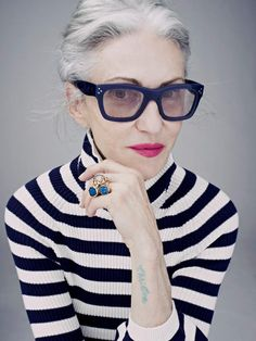 Linda Rodin (black and white stripes w/ gray hair and black glasses, especially the stripes!)