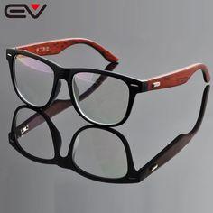 EV  Female Male's Big Style Acetate Frame Wooden Temple Glasses Women Men brand designer Oculos De Graugafas de moda EV0966