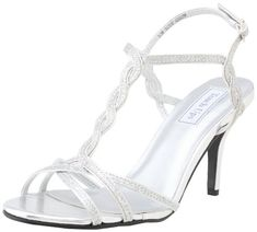 Touch Ups Women's Fran Dress Sandal,Silver Glitter,8.5 M US Adjustable strap  with