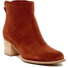 Aquatalia Tricia Boot ($190) ❤ liked on Polyvore featuring shoes, boots, ankle booties, ankle boots, terracotta, pull on boots, short boots, faux leather booties, pull on leather boots and leather bootie
