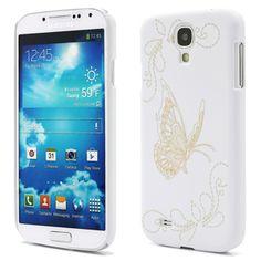 Coque Galaxy S4 blanche avec gravure de papillon - Coques en Folie Galaxy S4