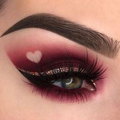 #anastasiabeverlyhills #makeup #valentinesday #vdaymakeup #heart #redeyeshadow #glittereyeshadow #darkmakeup #eyebrows #hudabeauty #valentines #romanticmakeuplook #glam #goldeyeliner #kvdlook #anastasiabrows #katvondbeauty #rogueandrogue #coloredliner