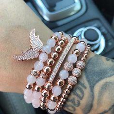 Making Bracelets With Beads, Gemstone Bracelets, Bracelet Making, Sterling Silver Bracelets, Jewelry Making, Rose Gold Bracelets, Silver Rings, Jewelry Necklaces, Rose Quartz Bracelet