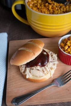 "Slow Cooker ""Smoked"" Chicken Sandwiches and Barbecue Sweet Corn"