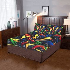 Collage of brightly colored lightning bolts on a dark background. Dust Mites, Lightning Bolt, Quilt Cover, Bedding Sets, 3 Piece, Duvet Covers, Pillow Cases, Toddler Bed, Colorful