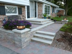 Unilock paver entry way with retaining walls and columns Outdoor Rooms, Outdoor Ideas, Outdoor Living, Outdoor Decor, Unilock Pavers, Stone Columns, Front Entrances, Retaining Walls, Walkways