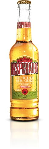 Tequila flavoured beer (75% of the flavour is tequila), with 5.9% alcohol. The combination of tequila flavoured beer, with latin roots, transforms Desperados into the symbol of wild parties.