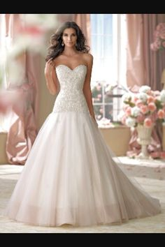 Beautiful white satin wedding dress