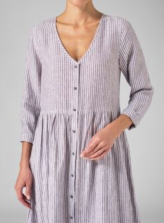 Linen Vertical Stripe Long Sleeve Dress