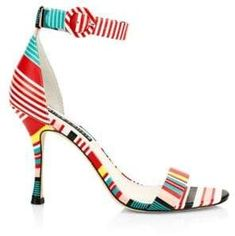 New Alice Olivia Danelle Striped Leather Ankle-Strap Sandals MULTI Womens Shoes. offers on top store Ankle Straps, Ankle Strap Sandals, Shoes Sandals, Cool Shoes For Women, Shoes Women, Pumps, Heels, Alice Olivia, Open Toe