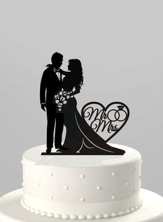 "Wedding Cake Topper Silhouette Bride and Groom, Your Choice: ""Mr & Mrs"" or ""Just Married,"" Acrylic Cake Topper [CT66]"
