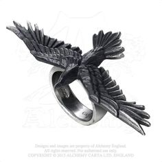 Alchemy Gothic Black Flying Raven Crow Consort Ring An unequivocally loyal companion, the majestic raven, wings outstretched, glides alongside its adopted squire offering protection and guidance. This