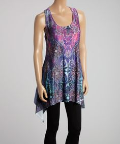 Blue & Purple Mosaic Handkerchief Tunic