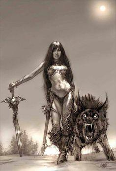 Warrior Woman with Black Wolf by Mike Butkus Fantasy Warrior, Fantasy Girl, Fantasy Art Women, Dark Fantasy Art, Fantasy Artwork, Dark Art, Anime Fantasy, Heroine Marvel, Tatoo Art