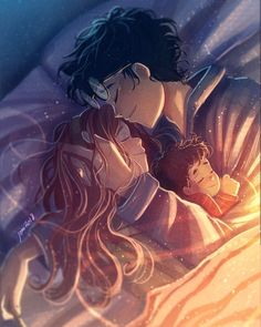 Featuring James Potter, Lily Evans, and baby Harry Potter. Harry Potter Anime, Harry Potter Fan Art, Memes Do Harry Potter, Images Harry Potter, Harry Potter Ships, Harry Potter Drawings, Harry Potter Fandom, Harry Potter World, Harmony Harry Potter