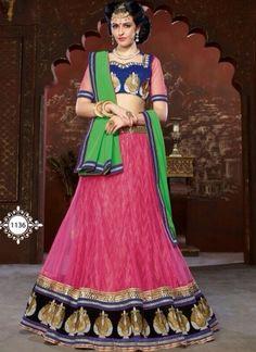 Hot Pink Net With Green Chiffon Designer Wedding Lehenga Choli